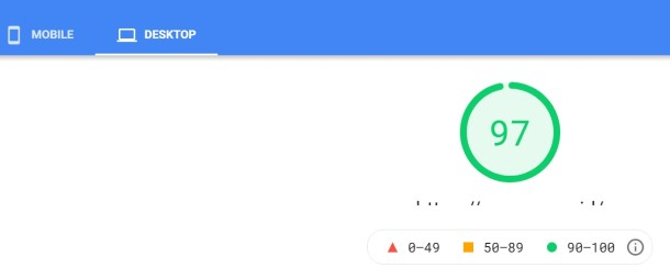 Hasil pengujian PageSpeed Insight blog yang ditempatkan di web hosting Jetorbit memperlihatkan skor 97 untuk desktop.